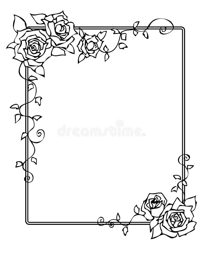 Frame With Roses Stock Images