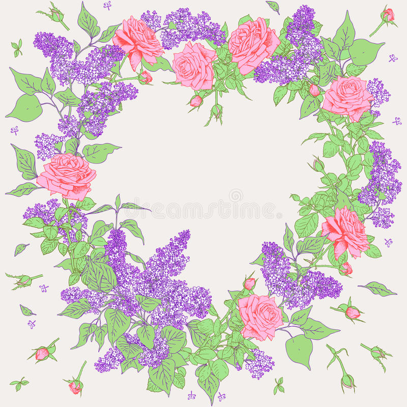 Frame of Roses and Lilac. royalty free illustration