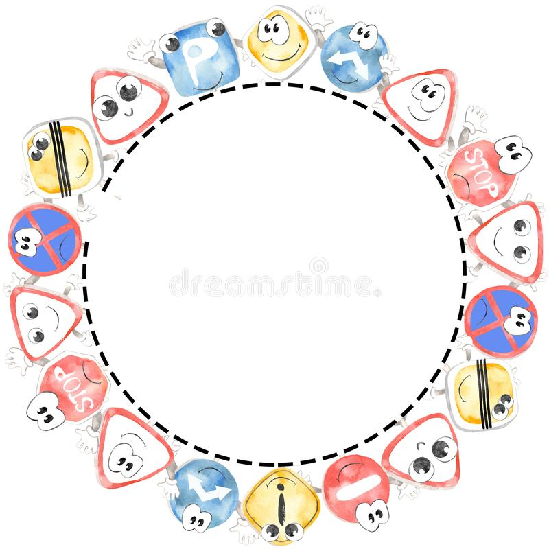 Frame round watercolor cute road sings cartoon. Ideal for creating baby showers, posters, cards, invitations, educational games for children, children`s stock illustration