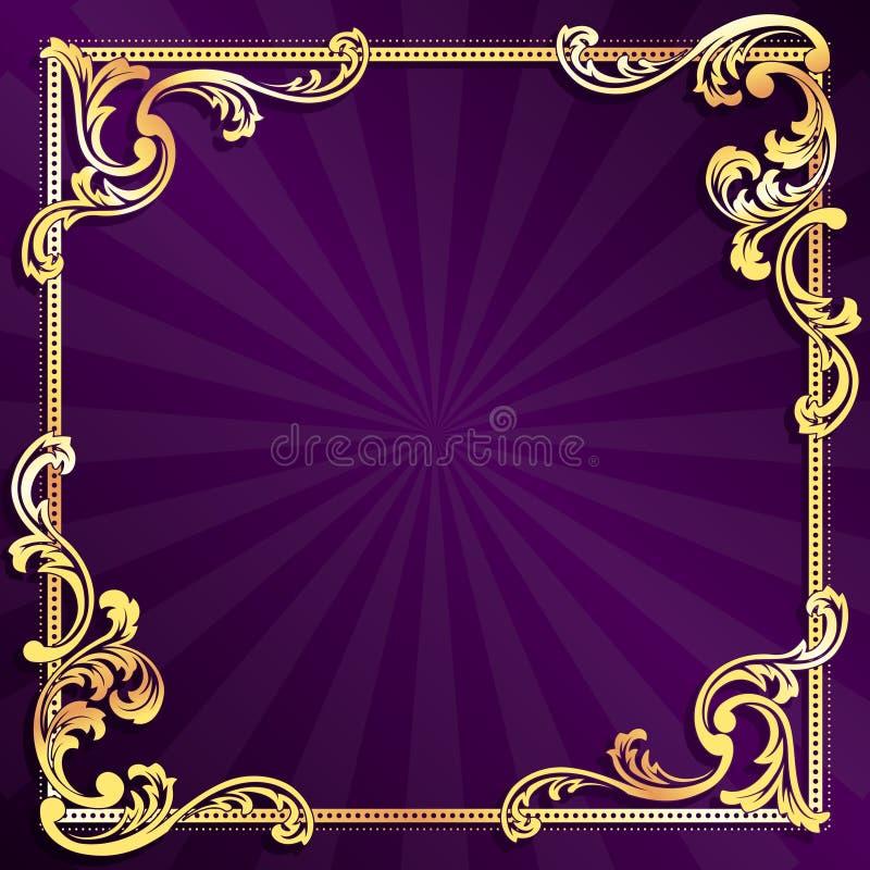 Frame roxo com o ouro filigree ilustração royalty free