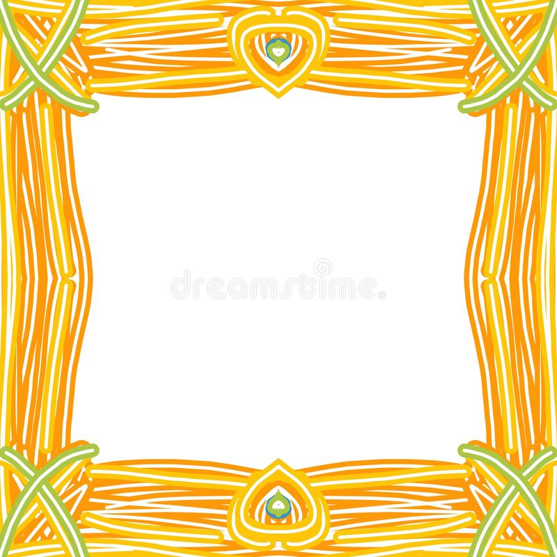 Frame in rustic style. Stylized drawing of bundles of reeds linked to form a frame of square shape, on white background summer spring summertime springtime stock illustration