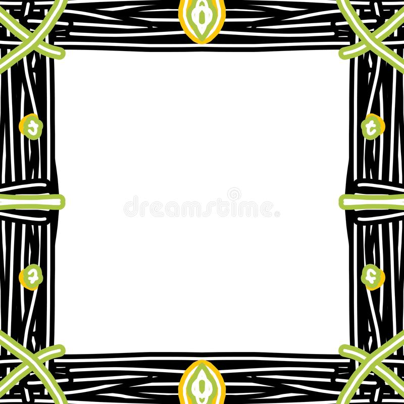 Frame in rustic style. Stylized drawing of bundles of reeds linked to form a frame of square shape, on white background stock illustration