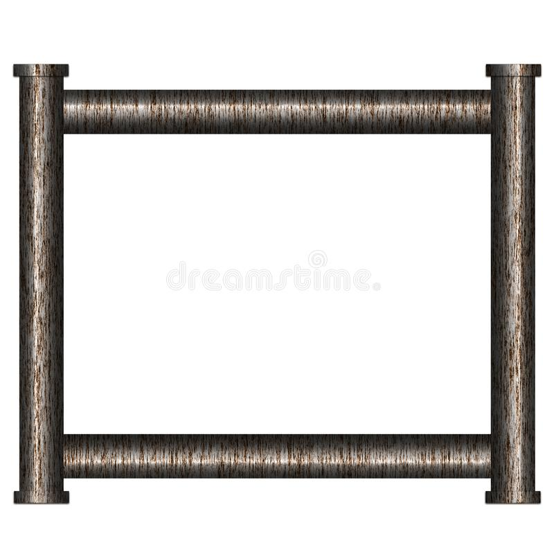 Frame from pipe. Frame from rusty metal pipes. Illustration vector illustration