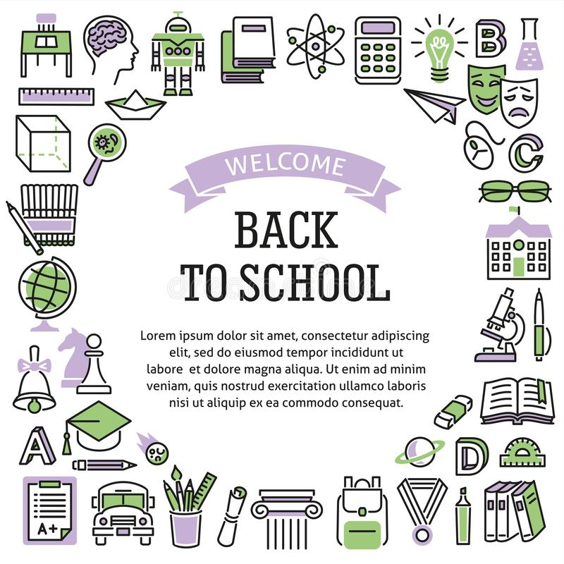 Frame school education color icons stock image