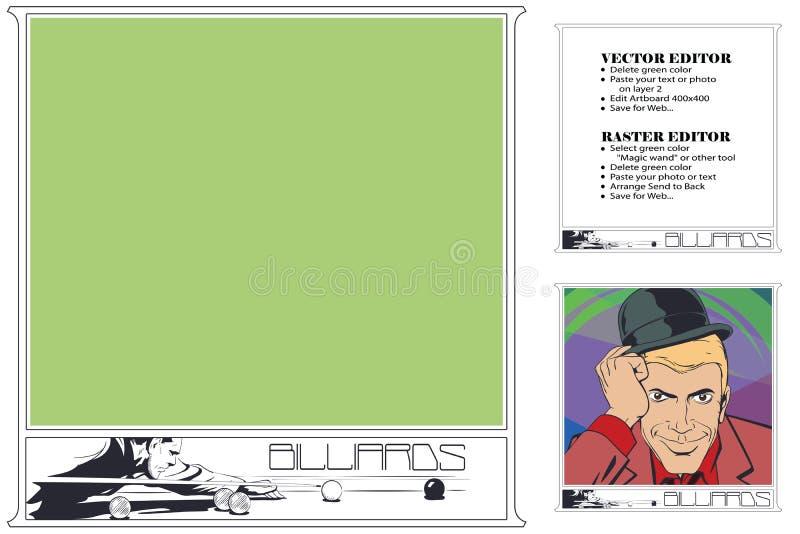 Player in billiards. Frame for scrapbook, banner, sticker, social network royalty free illustration