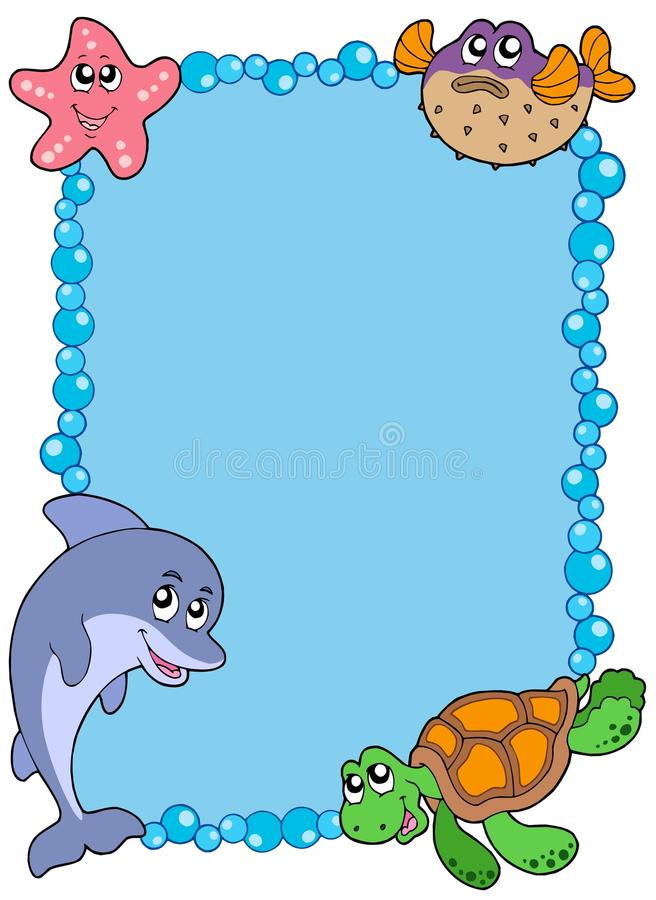 Frame with sea animals 1 stock illustration