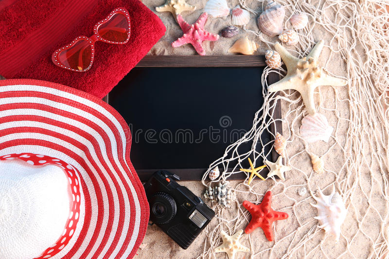 frame with seashells stock images