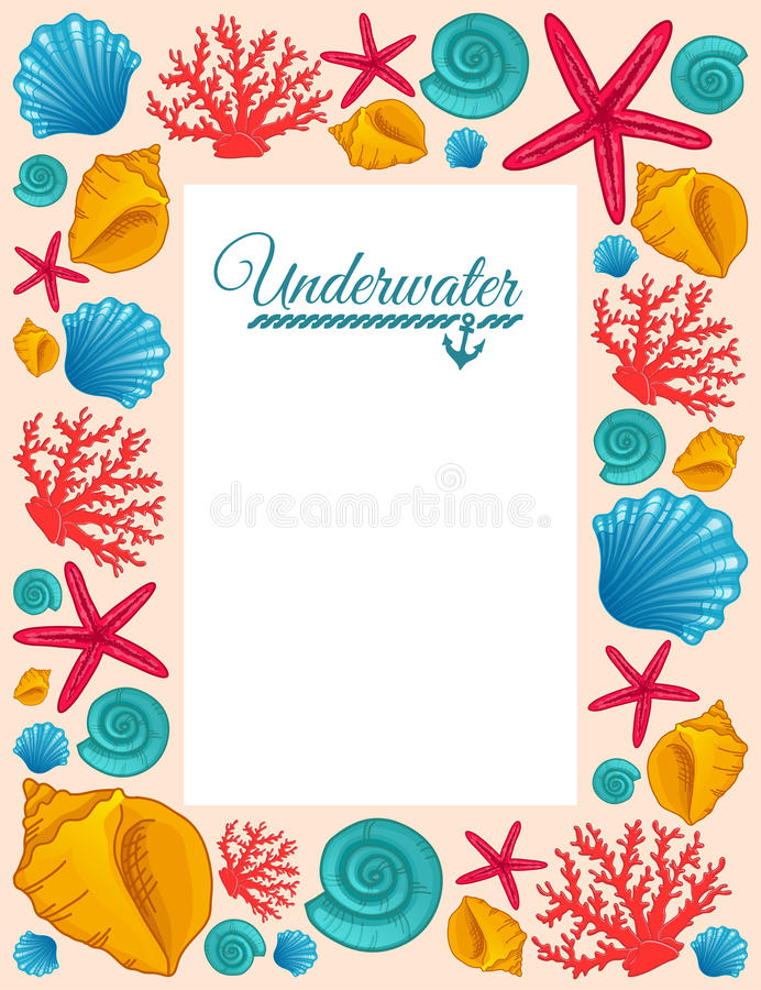 Frame with seashells, coral and starfish. vector illustration