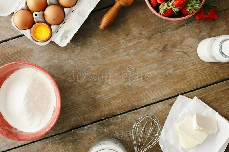 Frame raw ingredients cooking strawberry pie cake top view flat stock photos