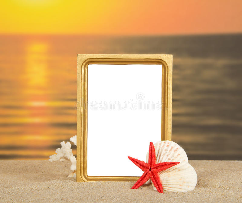Frame, set of sea cockleshells on sand. Against a decline royalty free stock photography