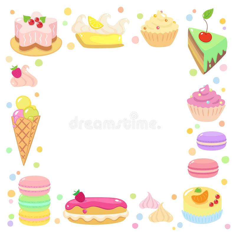 Sweet Confection frame. Frame with set of Sweet Confection: chocolate cake, pink and chocolate eclairs, ice-cream, meringues, macarons, sponge-cake, roulade vector illustration