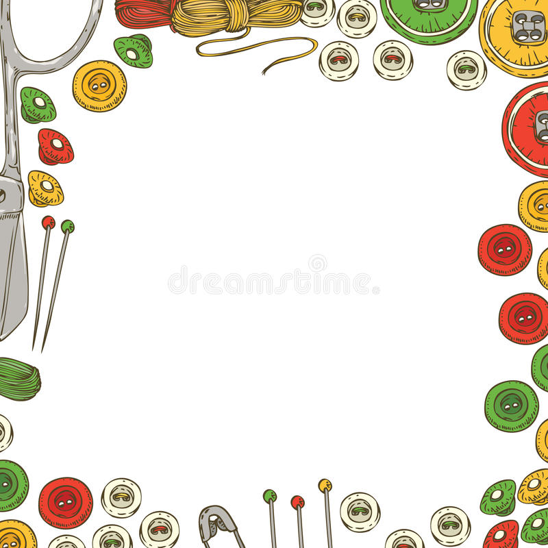 Frame With Sewing Supplies And Accessories Stock Illustration ...