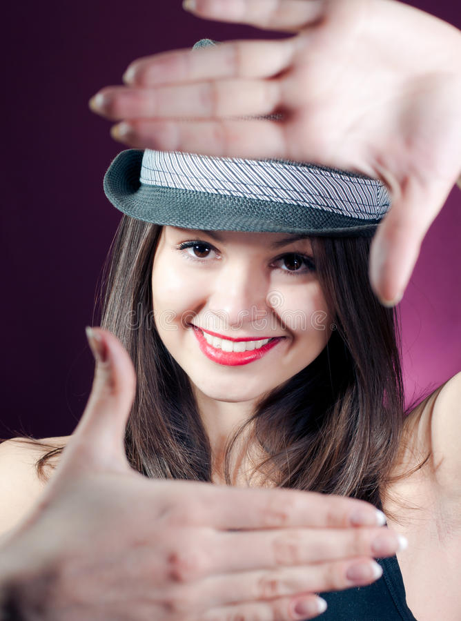Download Frame & Beautiful Young Woman Stock Image - Image: 24090491