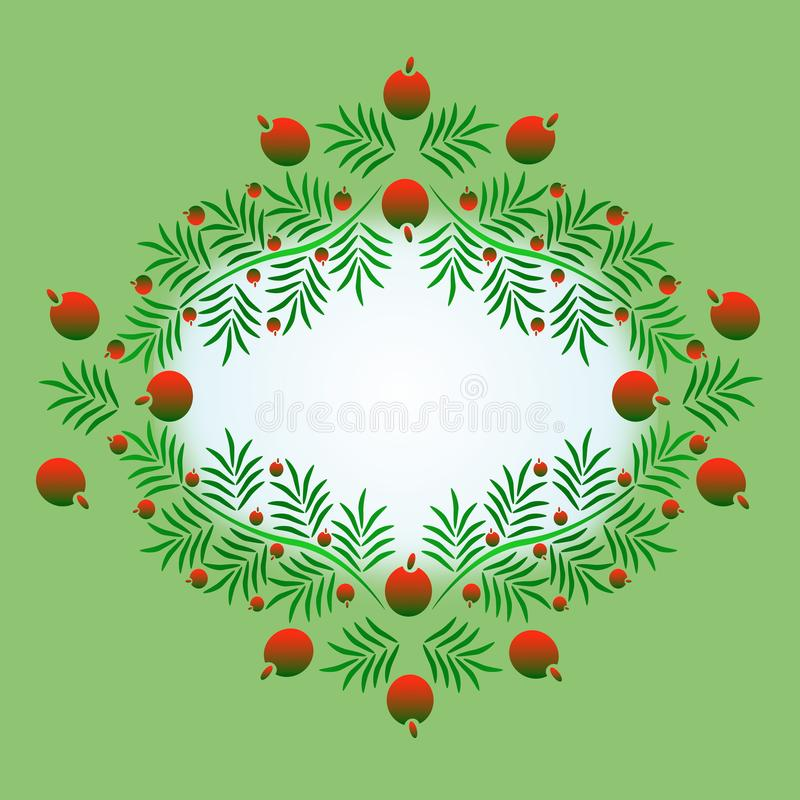 Frame in the shape of a branch with red berries. Christmas, Christmas Eve, New Year. royalty free stock photo