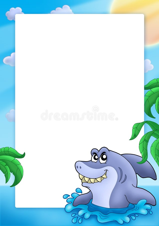 Frame with shark vector illustration