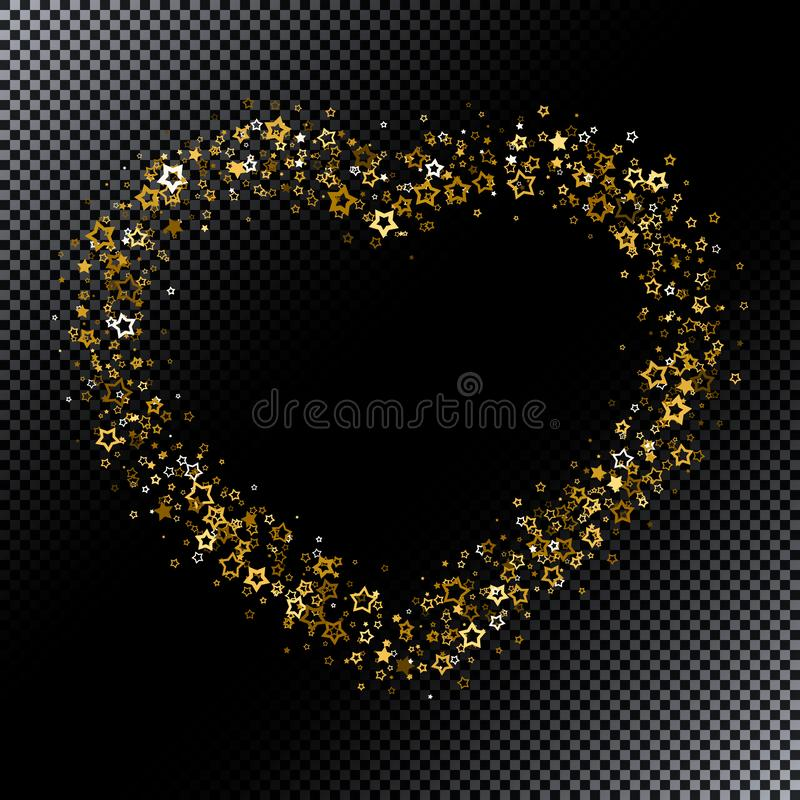 Frame shining stars on black background stock illustration
