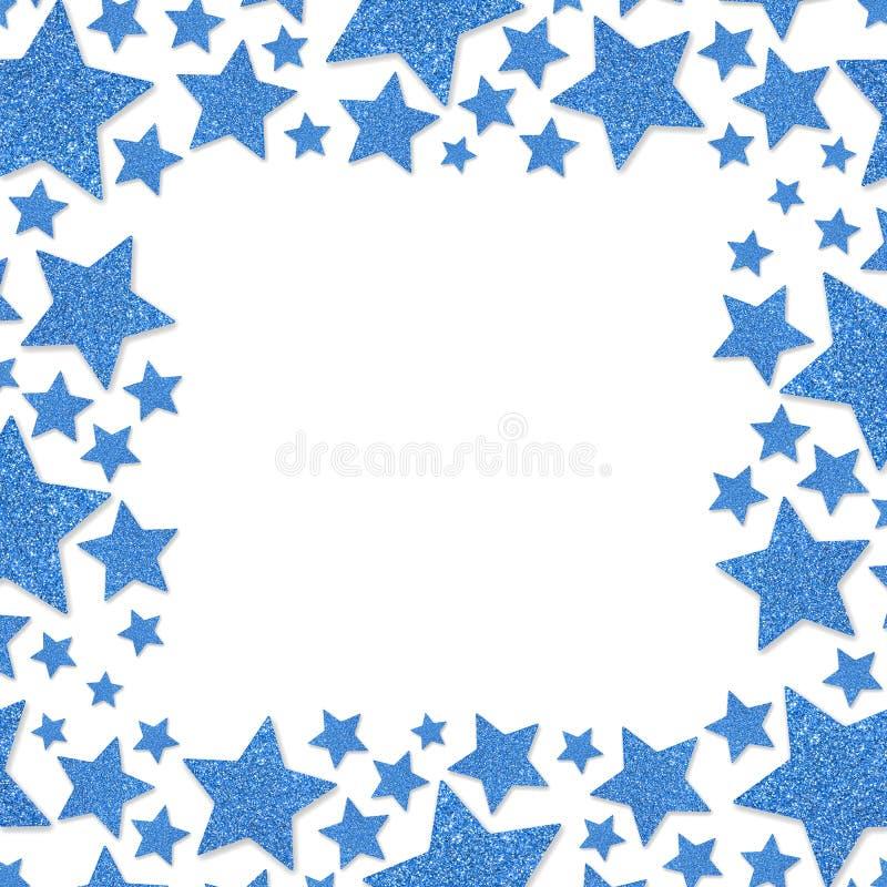 Frame of shiny blue metal stars isolated on white background. Glitter powder border stock photo