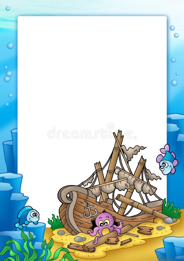 Frame With Shipwreck In Sea Royalty Free Stock Photo