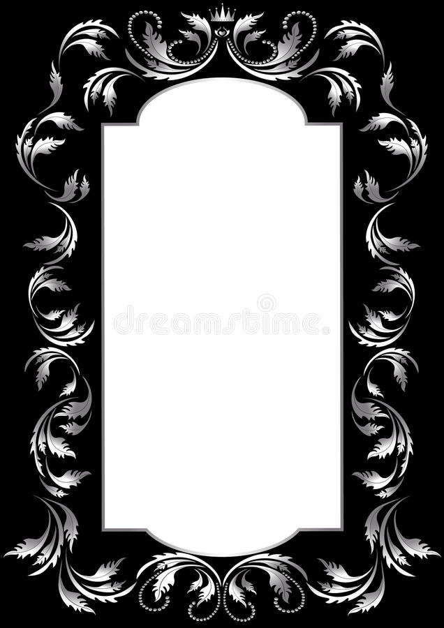 frame of silver leaf in old style on a black backg stock vector