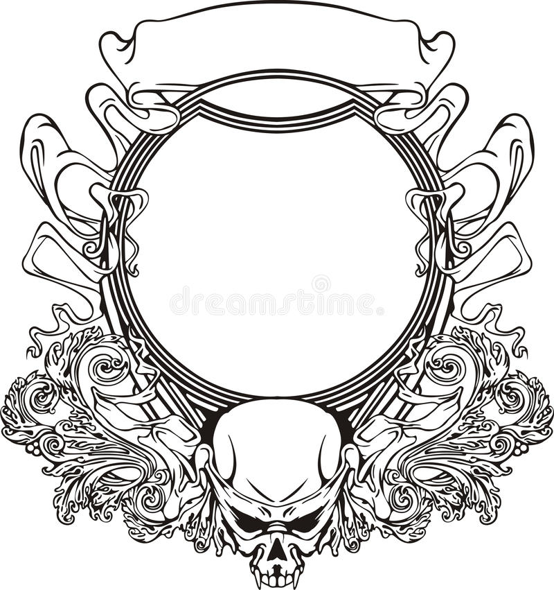 Frame With Skull In Art Nouveau Style Stock Vector - Illustration of ...