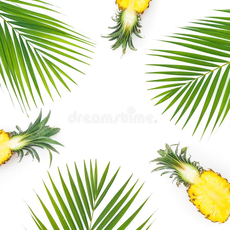 Frame of sliced pineapple and palm leaves isolated on white background. Flat lay, top view royalty free stock photography