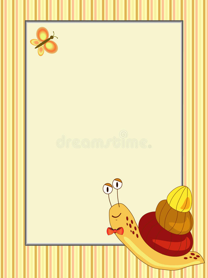 Frame with snail illustration royalty free stock photography