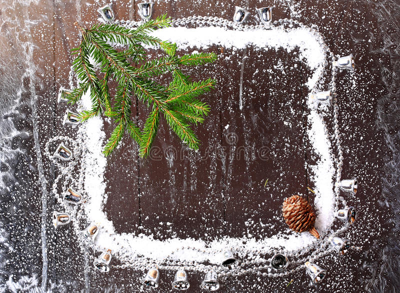 Frame of the snow with a Christmas stock images