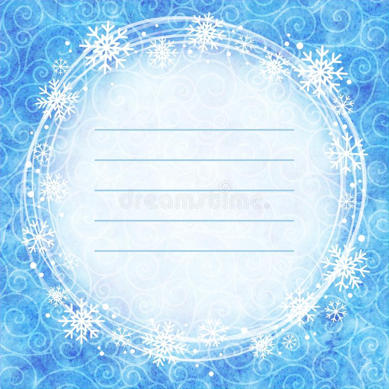 Frame of snowflakes on a watercolor background. royalty free illustration