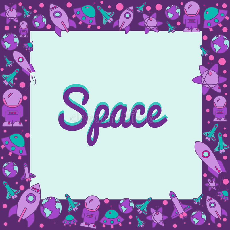 Frame with space elements in flat style. royalty free stock image