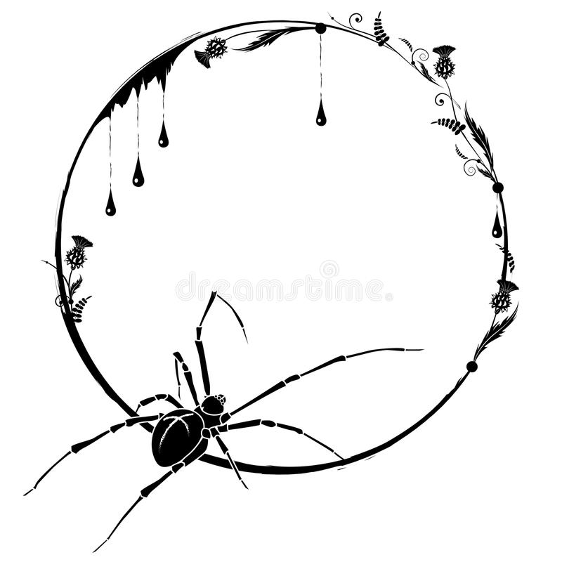 Frame with spider and thistle stock illustration