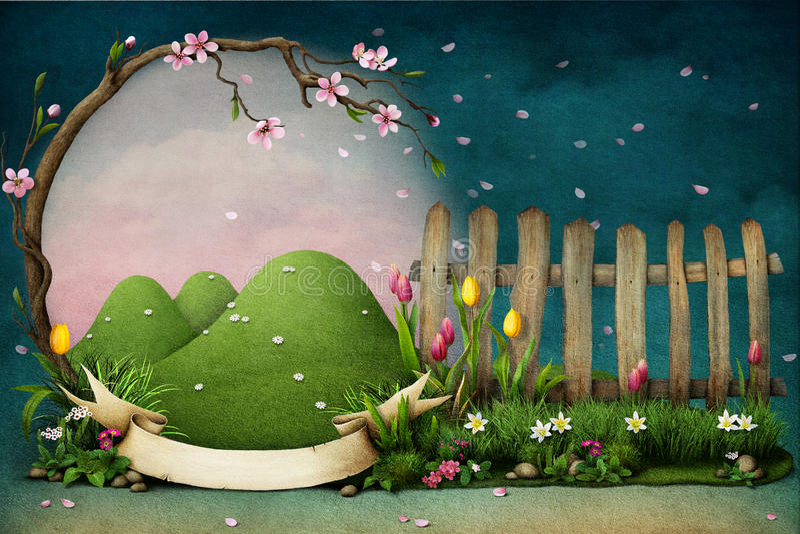 Frame of spring flowers. vector illustration