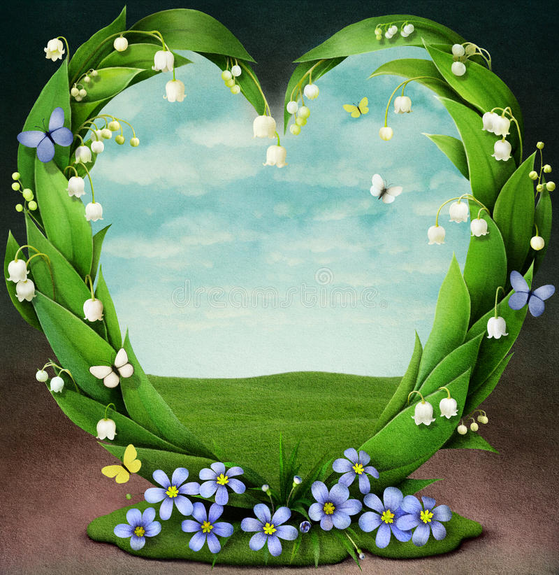 Frame with spring flowers in shape of heart stock illustration