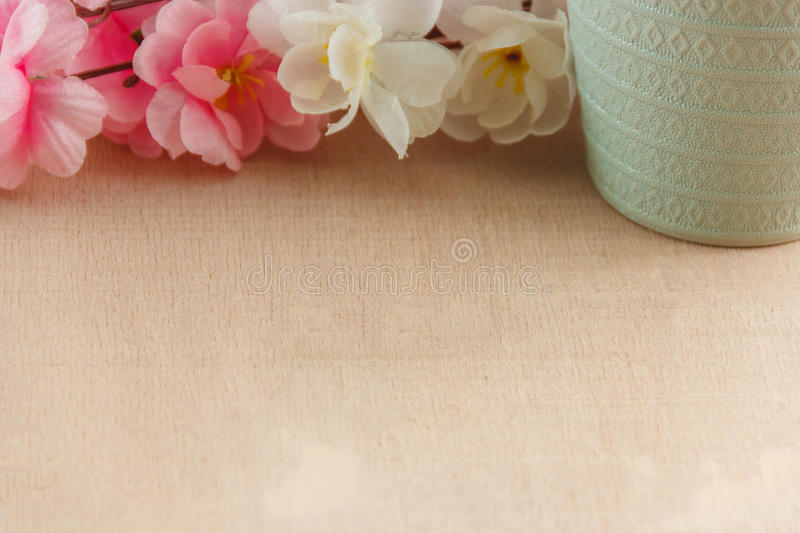 Frame of spring flowers on a wooden ,with space for text ,spring or summer theme.  stock image