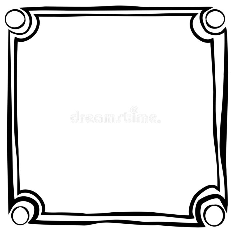 Frame Square Sketch and Circle at every Corner for quote, message, announcement etc royalty free illustration