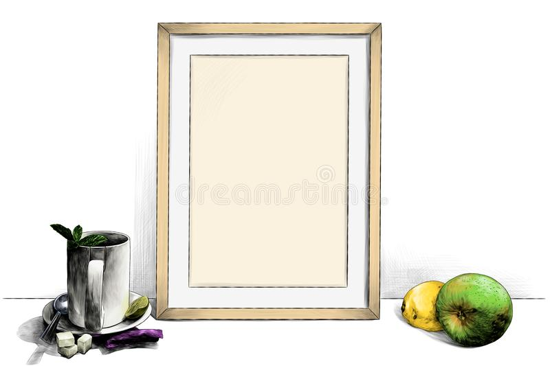 Frame standing on the table next to a Cup of tea on a saucer with a teaspoon of lime and sugar pieces and with Apple and lemon. Template picture in a frame stock illustration