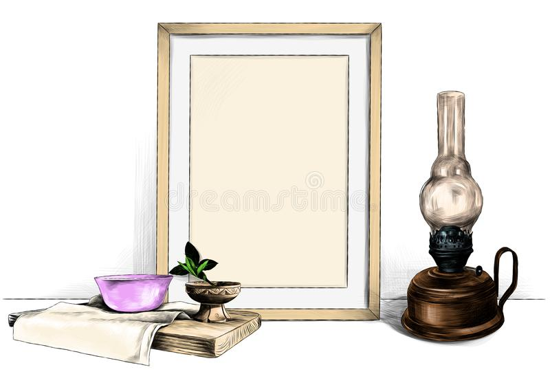Frame standing on the table next to a kerosene lamp and a wooden stand with a napkin on which stands a saucer and a wooden Cup. Template picture in a frame stock illustration