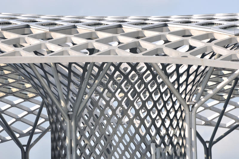Frame of steel structure construction. Part and detail of steel structure construction which is sliver gray, shown as architecture industry and design stock photography