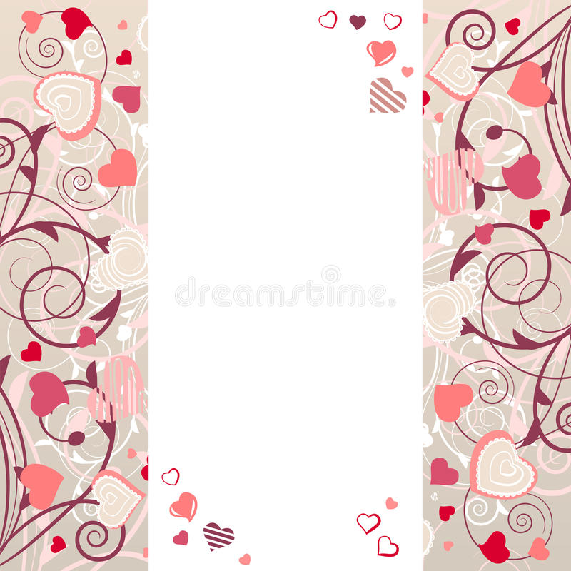 Frame with stylized hearts stock illustration