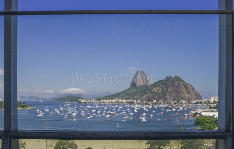 Frame of Sugarloaf Mountain, known locally as Pao de Acucar in Rio de Janeiro royalty free stock image