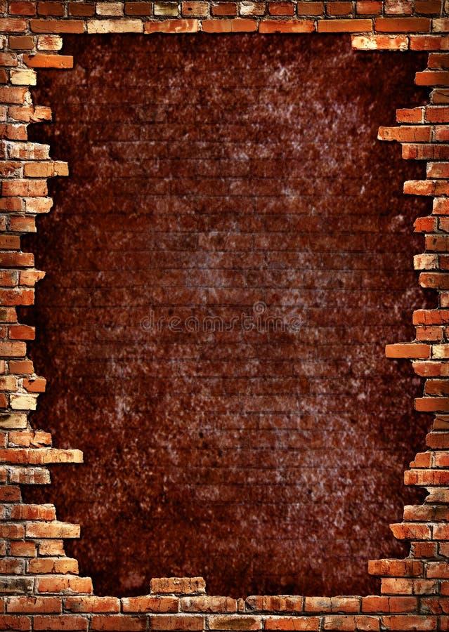 Frame sujo da parede de tijolo ilustração stock