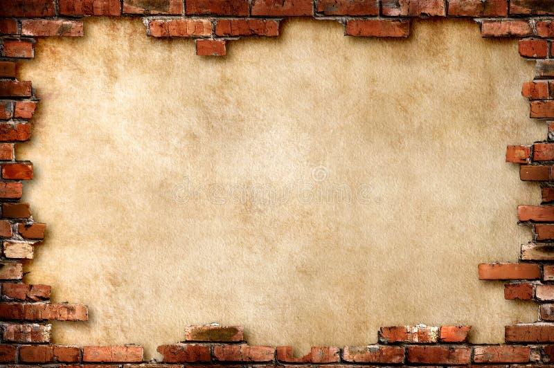 Frame sujo da parede de tijolo fotografia de stock