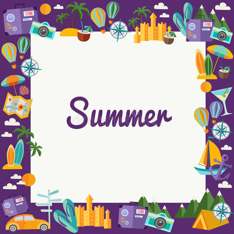 Frame with summer elements in flat style. royalty free stock photos