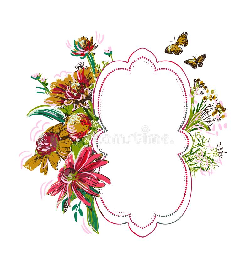 Frame summer vector paint style design flower colorful stock illustration