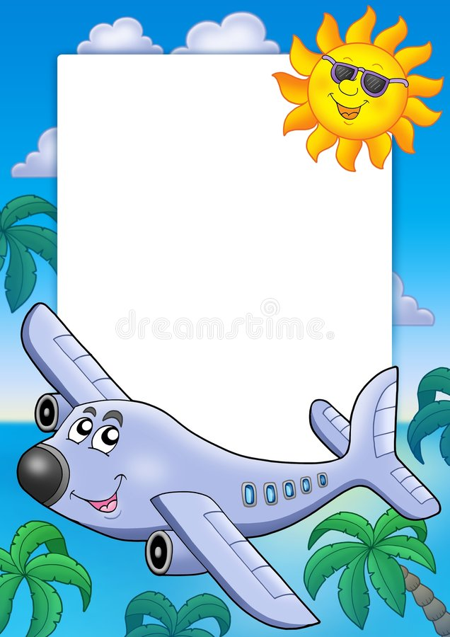 Frame with Sun and airplane vector illustration