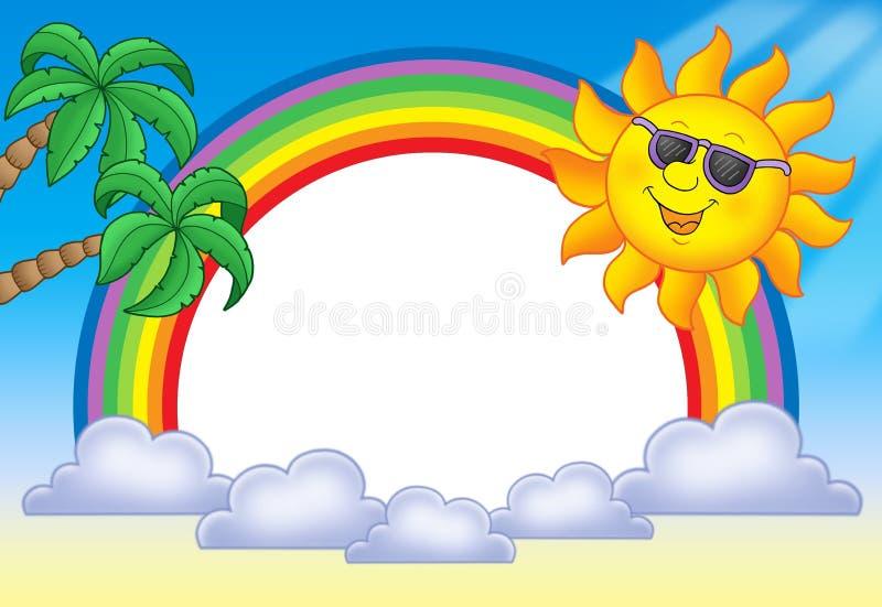 Frame With Sun And Rainbow Royalty Free Stock Photos