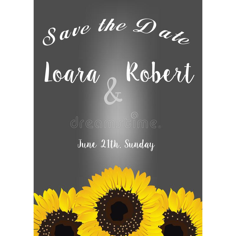 Frame with sunflowers. Collection decorative floral design elements. Save the date, wedding invitations, baby shower or birthday c royalty free illustration