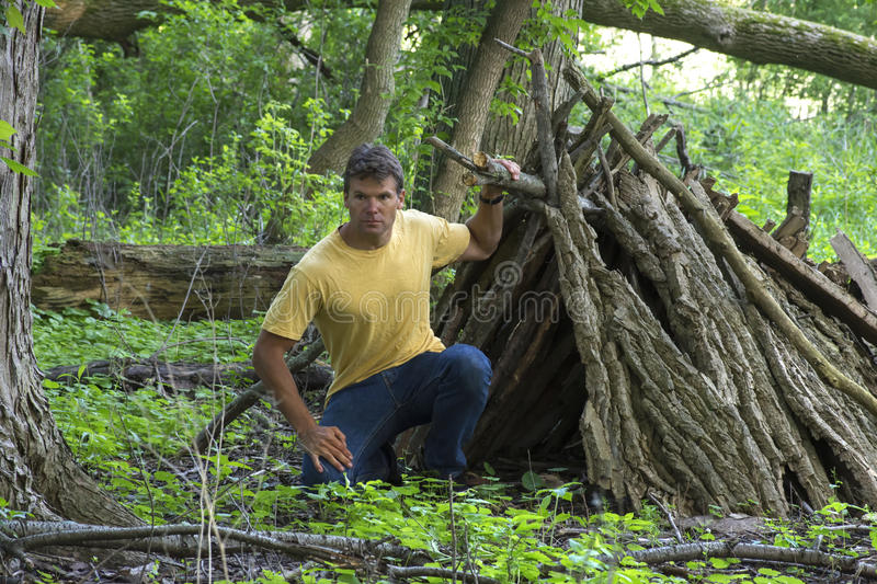A-frame survival shelter in wooded forest. Survivor man kneels next to opening of small primitive A-frame survival shelter made of logs in lush forest stock image