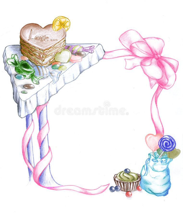 Download Frame of sweets stock illustration. Image of heart, chocolate - 7456517