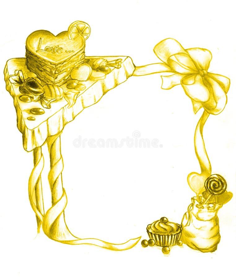 Download Frame of sweets - gold stock illustration. Image of cake - 7458676