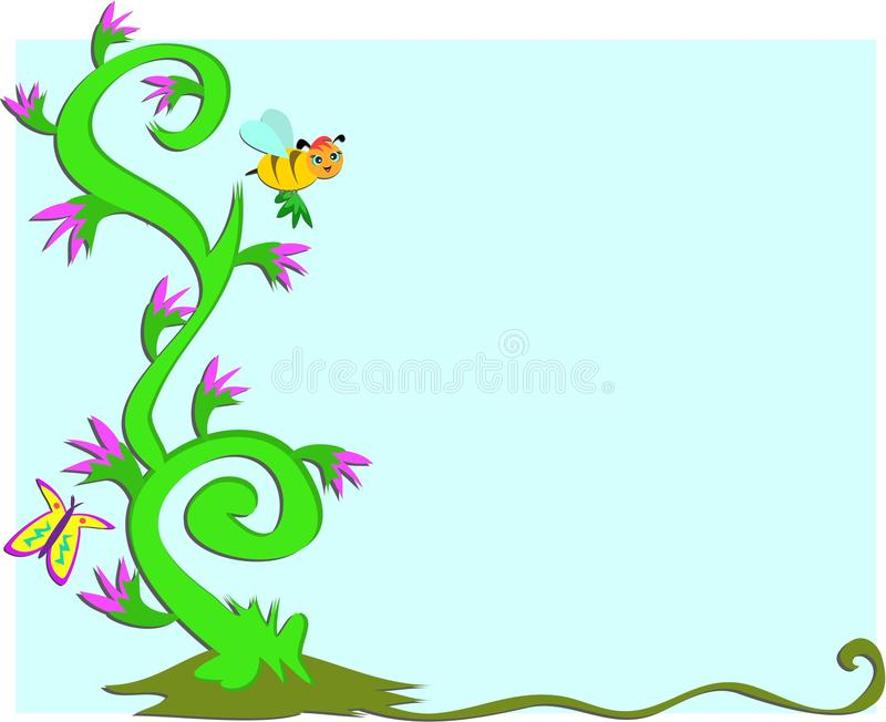 Download Frame Of Swirling Plants, Flowers, Bee And Butterf Royalty Free Stock Photography - Image: 15489427